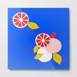 Red Citrus Oranges on Blue  Metal Print