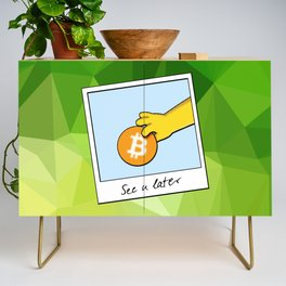 See you later funny Bitcoin Donut on green Credenza