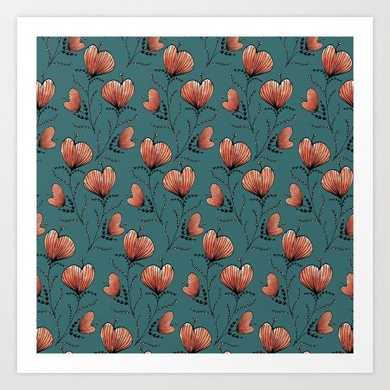 Coral flowers Art Print