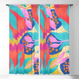 Bold Flower Pattern Yellow Background Blackout Curtain
