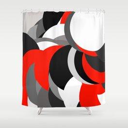 black white grey red geometric digital art Shower Curtain