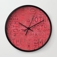 mother Wall Clocks featuring Mother by CatDesignz