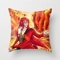kuroshitsuji Throw Pillows featuring Grell Sutcliff by Kali-Mav