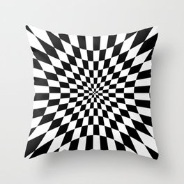 Abstract geometric infinite burst square zebra checkerboard pattern design in black and white Throw Pillow