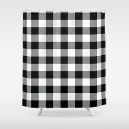 Buffalo Check Black White Plaid Pattern Shower Curtain