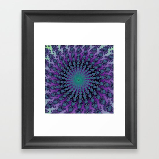 Cool Hued Purple Blue Braided Rug Fractal Framed Art Print