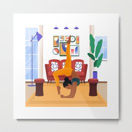 Yoga illustration print, yoga girl print, boho yoga wall art, yoga gift, yoga art, yoga pose print Metal Print