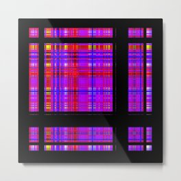 Unicorn Plaid Squares Metal Print