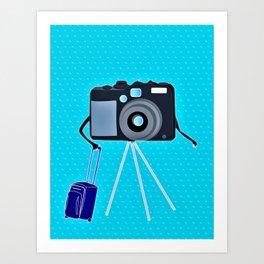 Camera on a photographic trip Art Print