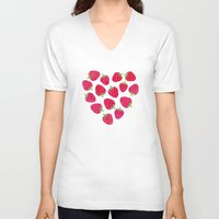 nutella V-neck T-shirts featuring STRAWBERRIES AND CHOCOLATE by Daisy Beatrice