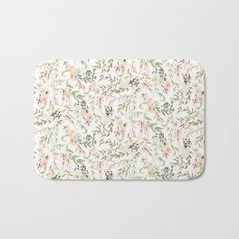 Dainty Intricate Pastel Floral Pattern Bath Mat