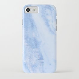 Shimmery Pure Cerulean Blue Marble Metallic iPhone Case