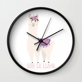 Ooh La Llama Cute Gifts For Llama Lover Wall Clock