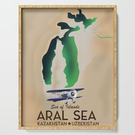Aral Sea Travel poster map Serving Tray
