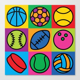 Sport Ball Pop Art Canvas Print
