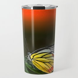 Butterfly Staring at Sunset Travel Mug