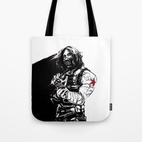 the winter soldier Tote Bags featuring Winter Soldier by Irene Flores