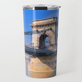 View Chain bridge over Danube river. Travel Mug
