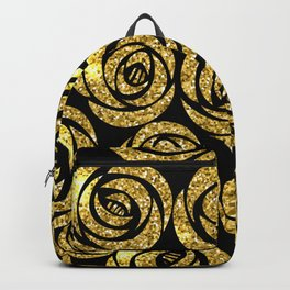 Bed of Roses in Gold and Black Backpack