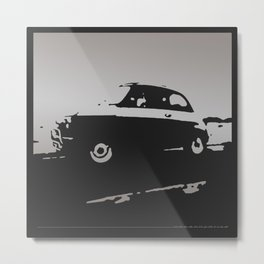 Fiat 500 classic, Gray on Black Metal Print