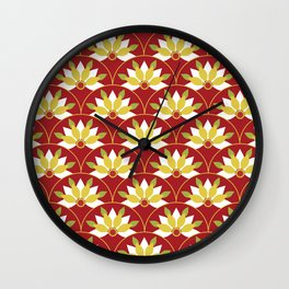 Red Asian pattern Wall Clock