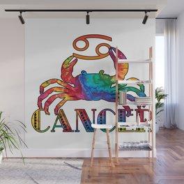 Rainbow Batik print Cancer Crab & Zodiac Sign Wall Mural