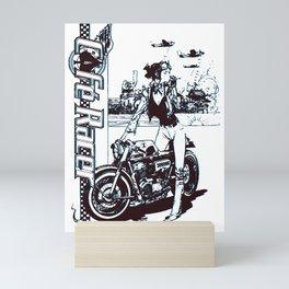 rebel lady biker Mini Art Print
