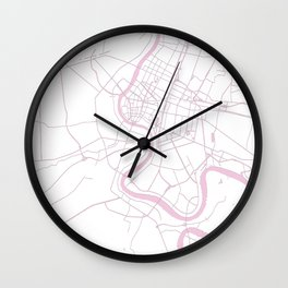 Bangkok Thailand Minimal Street Map - Pastel Pink and White II Wall Clock