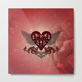 Awesome heart with skulls Metal Print