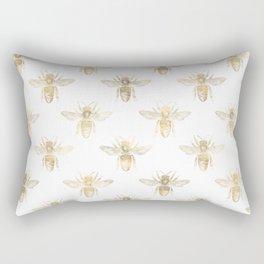 Gold Bee Pattern Rectangular Pillow