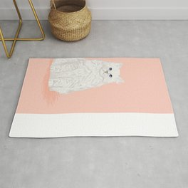 Fluffy white cat sitting cat gifts perfect cat lady presents white cat owners must have pet decor  Rug