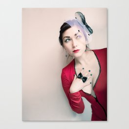 """""""Who Me?"""" - The Playful Pinup - Red and Black Pin-up Girl by Maxwell H. Johnson Canvas Print"""