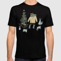 Bear, Christmas Tree and Bunnies Black MEDIUM Mens Fitted Tee