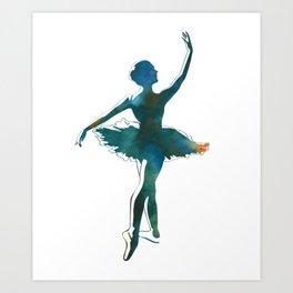 Ballerina Dancer Tutu Watercolor Bun Dance Ballet Art Print