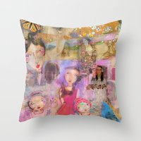 klimt Throw Pillows featuring Klimt by sara aguiar