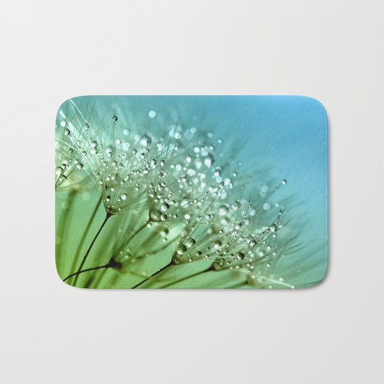 Aqua Sparkling dewdrops on a Dandelion- Flower Flowers Bath Mat