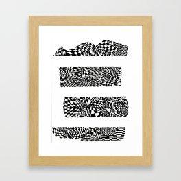Letter E Black/White Abstract, (Ink Drawing) Framed Art Print