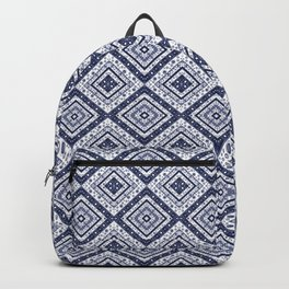 Strict , white blue ornament. Backpack