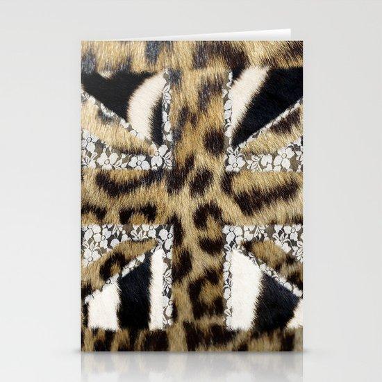 Wild | Hipster leopard Print Zebra UK Union Jack Flag  Stationery Cards