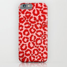 Bold Modern Red Pink Leopard Animal Print iPhone Case