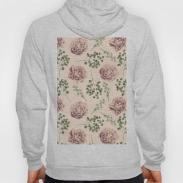 Rose Pattern Light Pink + Green Hoody