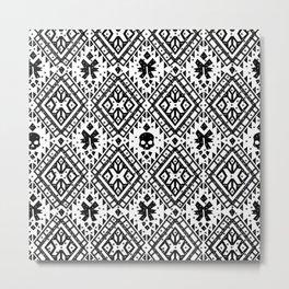 Boho Skull Black/White Metal Print