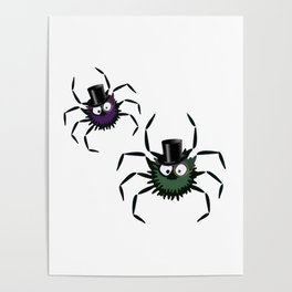 Spiders Wearing Top Hats Poster