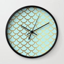 Aqua Teal And Gold Foil MermaidScales - Mermaid Scales Wall Clock