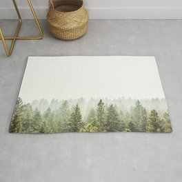 arial forest print, tree top print, wall art, woodland print, forest print, arial fog tree phoo Rug