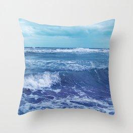Blue Atlantic Ocean White Cap Waves Clouds in Sky Photograph Throw Pillow