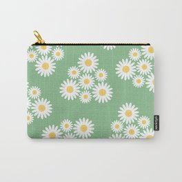 Spring white daisies triangles pattern on green Carry-All Pouch