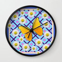 Yellow Butterfly on  Blue-pink Shasta Daisy Abstract Pattern Wall Clock
