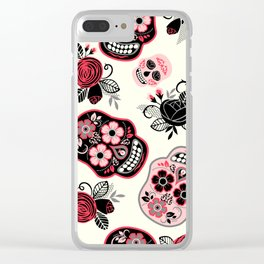 Sugar skulls black and red roses pattern Clear iPhone Case