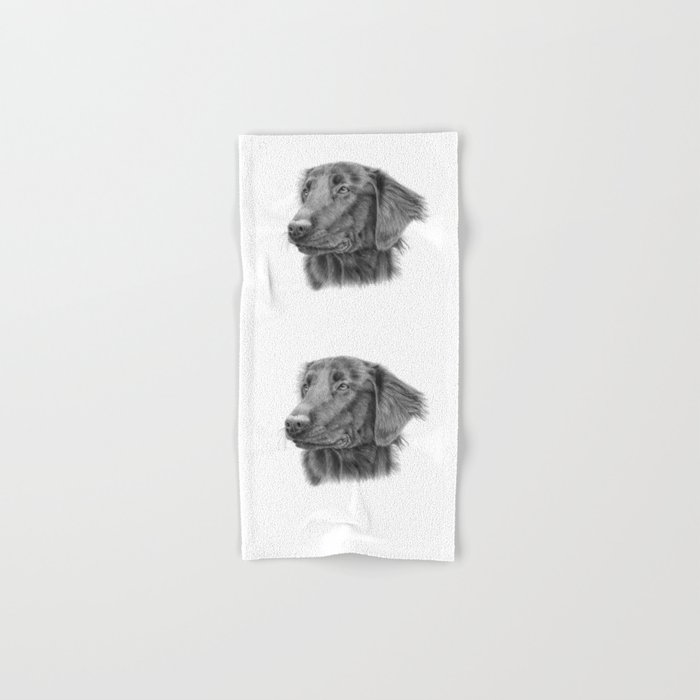 Flatcoated retriever bw Hand & Bath Towel